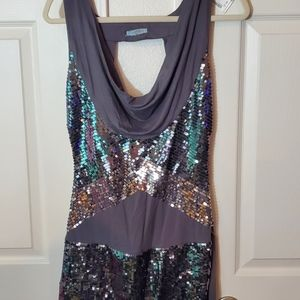 Gray Tank with Silver Sequin Detail